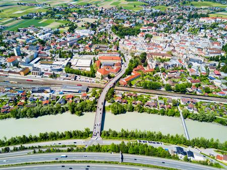 Hall in Tirol and Inn river aerial panoramic view, Austria