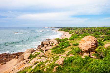Aerial panoramic view to the Kirinda beach and ocean from Kirinda Temple in Tissamaharama, Sri Lanka