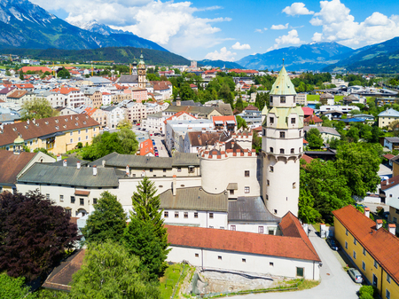 Hasegg Castle or Burg Hasegg aerial panoramic view, castle and mint located in Hall in Tirol, Tyrol region of Austria