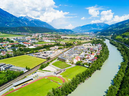 Hall in Tirol and Inn river aerial panoramic view, Austria. Hall in Tirol is a town in the Innsbruck Land district of Tyrol, Austria.