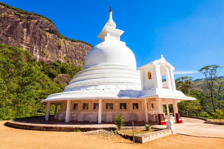 Japanese Peace Stupa or Peace Pagoda at the foot of Adams Peak. Adams Peak or Sri Pada is a tall and holy mountain in Sri Lanka. Editorial