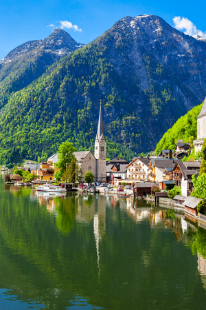 Hallstatt old town and Hallstatter See lake in Upper Austria. Hallstatt is a village in the Salzkammergut region near Salzburg in Austria. Stock Photo