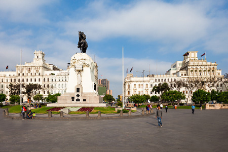 LIMA, PERU - MAY 10, 2015: Monument to Jose de San Martin on the Plaza San Martín in Lima, Peru