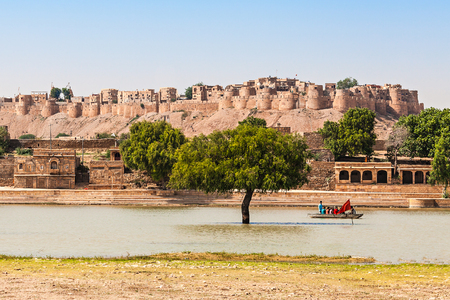 Fort in Jaisalmer, India. Jaisalmer the golden city stands on a ridge of yellowish sandstone.