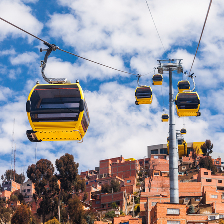 Mi Teleferico is an aerial cable car urban transit system in the city of La Paz, Bolivia. Stock Photo
