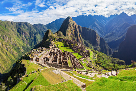 Machu Picchu is one of the New Seven Wonders of the World. 스톡 콘텐츠