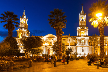 The Basilica Cathedral of Arequipa is located in the Plaza de Armas, city of Arequipa, Peru