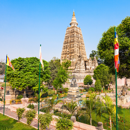Mahabodhi Temple Complex in Gaya district in the state of Bihar, India Stock Photo