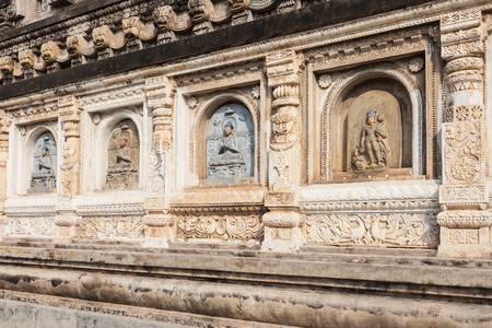 Decorated relief panel of Mahabodhi Temple in Gaya district in the state of Bihar, India