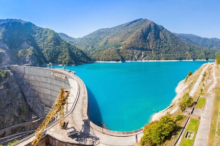 The Inguri Dam is a hydroelectric dam on the Inguri River in Georgia Stock Photo