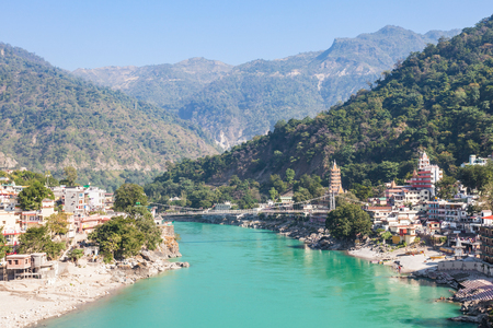 Rishikesh aerial view, India. It is known as the Gateway to the Garhwal Himalayas and the Yoga Capital of the World. Stock Photo