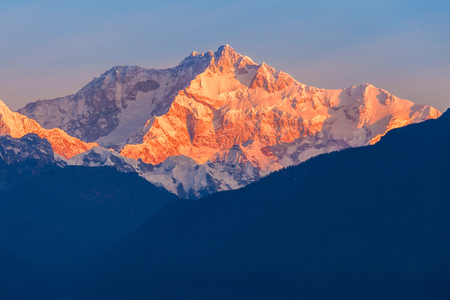 Kangchenjunga close up view from Pelling in Sikkim, India. Kangchenjunga is the third highest mountain in the world.