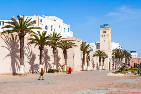 Medina entrance tower and old city walls in Essaouira, Morocco Stock Photo
