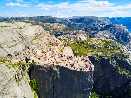 Preikestolen or Prekestolen or Pulpit Rock aerial panoramic view, Norway. Preikestolen is a steep cliff which rises above the Lysefjord.