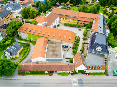 Norwegian Museum of Cultural History or Norsk Folkemuseum aerial panoramic view, located at Bygdoy peninsula in Oslo, Norway Stock Photo