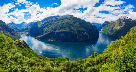 Geirangerfjord aerial panoramic view from Ornesvingen eagle road viewpoint, located near the Geiranger village, Norway