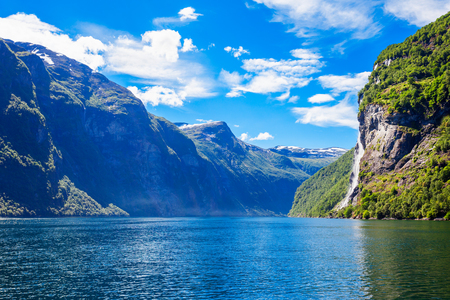 The seven sisters waterfall over Geirangerfjord, located near the Geiranger village, Norway Stock Photo