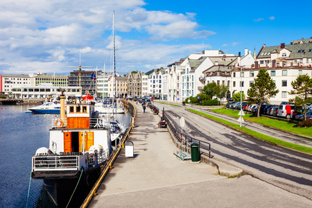 Yachts at the Alesund bay in the city centre. Alesund is a town and municipality in More og Romsdal county, Norway