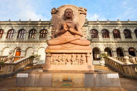 KANDY, SRI LANKA - FEBRUARY 19, 2017: Sarnath Lord Buddha idol replica near the Museum Of World Buddhism (International Buddhist Museum) in Kandy, Sri Lanka Editorial