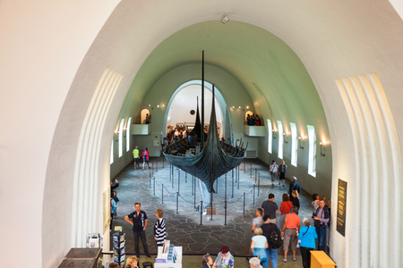 OSLO, NORWAY - JULY 21, 2017: Viking Ship Museum is located at Bygdoy island in Oslo, Norway. Viking Ship Museum is a part of Norwegian Cultural History Museum.
