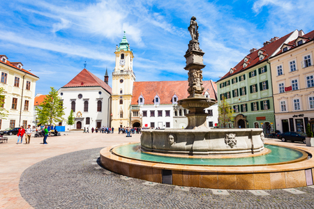 BRATISLAVA, SLOVAKIA - MAY 11, 2017: Bratislava Old Town Hall is a complex of buildings in the Old Town of Bratislava, Slovakia. Old Town Hall is the oldest city hall in  the Slovakia.
