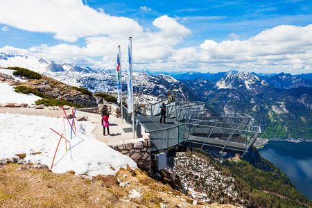 HALLSTATT, AUSTRIA - MAY 16, 2017: 5 Fingers is a viewpoint platform in the Dachstein Mountains on Mount Krippenstein, Upper Austria. Five Fingers named of its hand like shape.