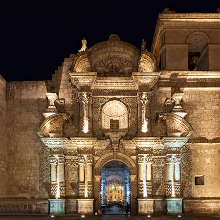 Jesuit Church of the Company of Jesus (Iglesia de la Compania) in Arequipa, Peru Editorial