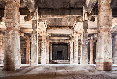 Columns inside the very old hindu temple Stock Photo