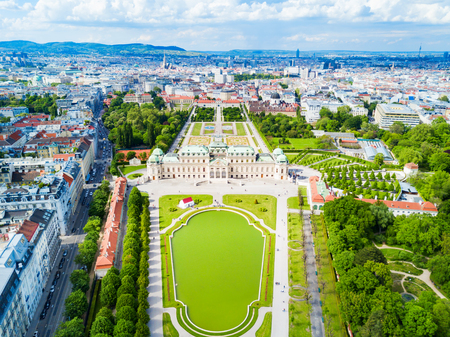 Belvedere Palace aerial panoramic view. Belvedere Palace is a historic building complex in Vienna, Austria. Belvedere was built as a summer residence for Prince Eugene of Savoy.