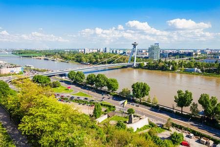 Most SNP new bridge or the UFO Bridge or Novy Most in Bratislava, Slovakia. SNP Most bridge is a road bridge over the Danube river.