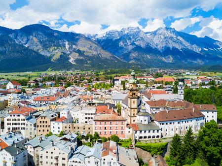 Roman Catholic Church of the Sacred Heart or Stiftskirche Herz-Jesu-Basilika aerial panoramic view in Hall in Tirol, Tyrol region of Austria