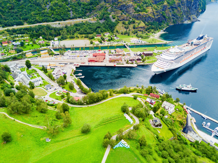 Cruise ship in Flam. Flam is a village in Flamsdalen, at the Aurlandsfjord a branch of Sognefjord, municipality of Aurland, Norway.