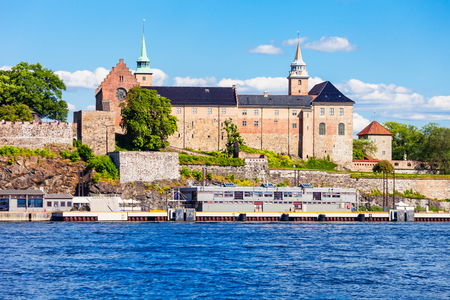 Akershus Fortress in Oslo, Norway. Akershus Festning is a medieval fortress that was built to protect Oslo. Editorial