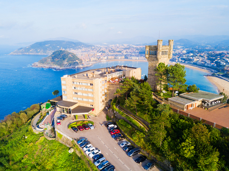 Monte Igueldo Tower, viewpoint and Amusement Park on the Monte Igueldo mountain in San Sebastian or Donostia city in Spain Banco de Imagens