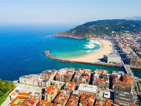 San Sebastian or Donostia beach aerial panoramic view. San Sebastian is a coastal city in the Basque country in Spain. Editorial