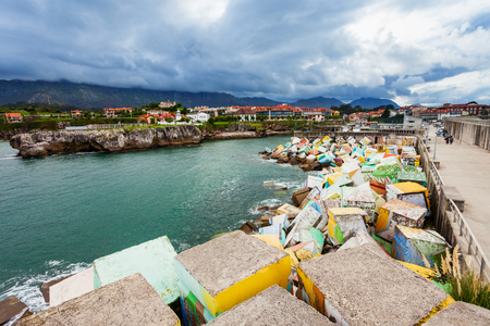 Memory Cubes at the pier in Llanes city, Asturias province in northern Spain