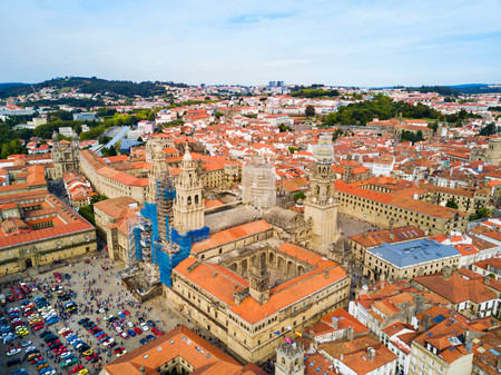 The Cathedral of Santiago de Compostela aerial panoramic view in Galicia, Spain