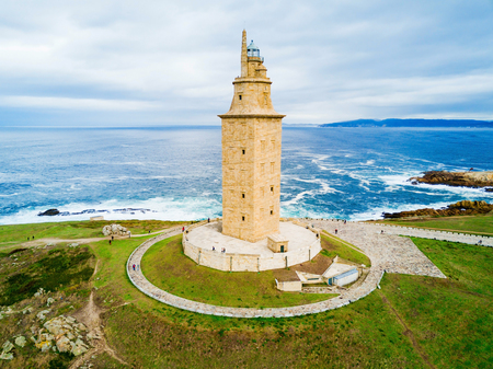 Tower of Hercules or Torre de Hercules is an ancient Roman lighthouse in A Coruna in Galicia, Spain Stok Fotoğraf