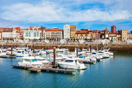 Gijon marina with yachts. Gijon is the largest city of Asturias in Spain.