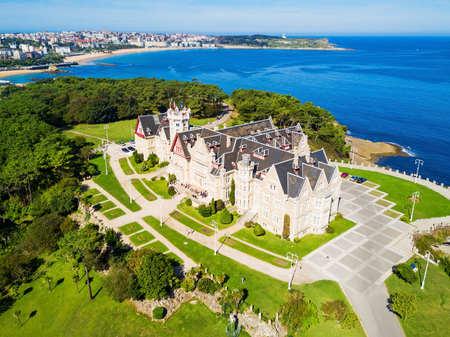 Magdalena Palace or Palacio de la Magdalena aerial panoramic view. It is a palace located on the Magdalena Peninsula in Santander city, Spain. Editorial