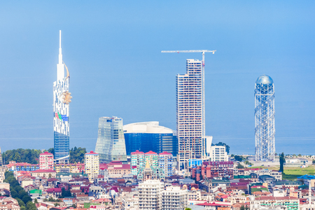 BATUMI, GEORGIA - SEPTEMBER 22, 2015: Alphabetic Tower, Batumi Technological University Tower and Radisson Blu Hotel in Batumi, Georgia
