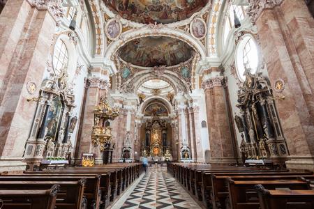 INNSBRUCK, AUSTRIA - MAY 23, 2017: Innsbruck Cathedral or Cathedral of St. James is a baroque cathedral of the Roman Catholic Diocese of Innsbruck in Innsbruck, Austria Redakční