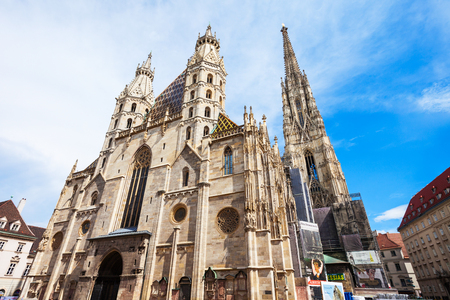 VIENNA, AUSTRIA - MAY 13, 2017: St. Stephens Cathedral in Vienna, Austria. St Stephens Cathedral is the most important religious building in Vienna.