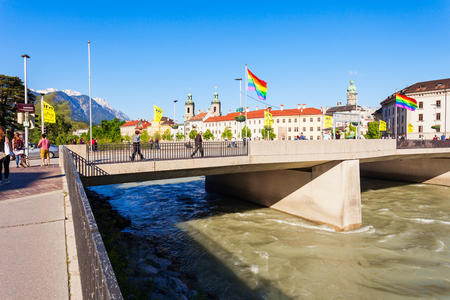 INNSBRUCK, AUSTRIA - MAY 21, 2017: Innsbruck bridge through the Inn river. Innsbruck is the capital city of Tyrol in western Austria.