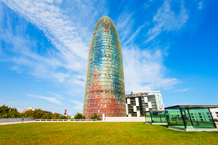 BARCELONA, SPAIN - OCTOBER 03, 2017: Torre Glories or Torre Agbar is a skyscraper located in the new technological district of Barcelona in Catalonia in Spain