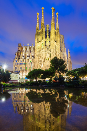 BARCELONA, SPAIN - OCTOBER 02, 2017: Sagrada Familia is a catholic church in Barcelona, designed by Catalan architect Antoni Gaudi