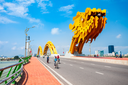 Danang Dragon bridge through Han river in Da Nang city in Vietnam