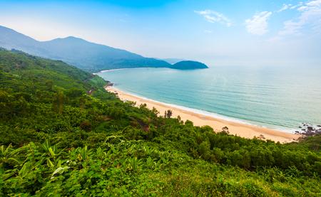 Beauty bay beach aerial panoramic view from the Hai Van Quan pass in Danang city in Vietnam