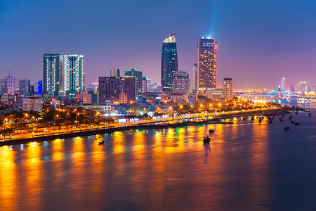 Da Nang city centre skyline aerial panoramic view. Danang is the fourth largest city in Vietnam.