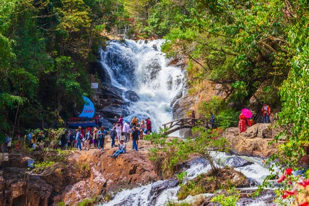 DALAT, VIETNAM - MARCH 12, 2018: Datanla Waterfall located near the Dalat city in Vietnam